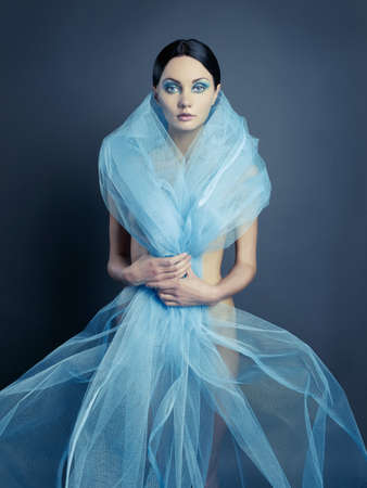 nude lady: Sensual beautiful nude lady with blue dress-veil