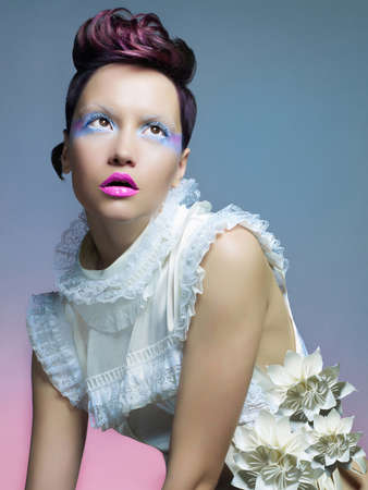 Fashion of beautiful lady in white dress Stock Photo - 17418690