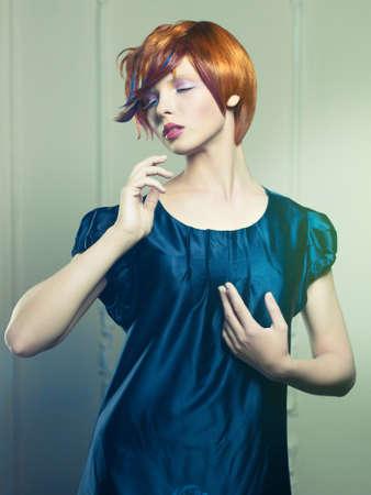 Fashion of beautiful lady in black dress Stock Photo - 17418692