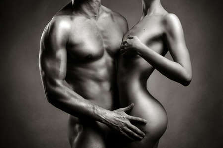 black women naked: Art photo of nude sexy couple in the tender passion Stock Photo