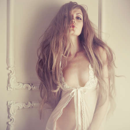 erotico: Moda arte foto de mujer sensual joven en interior cl�sico Foto de archivo