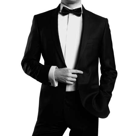 1 man only: Photo of stylish man in elegant black suit