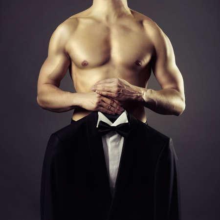 uomini nudi: Concettuale foto di uomini nudi e vestito da sera Archivio Fotografico