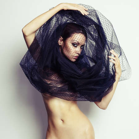 Sensual beautiful woman under the black veil Stock Photo - 18809912