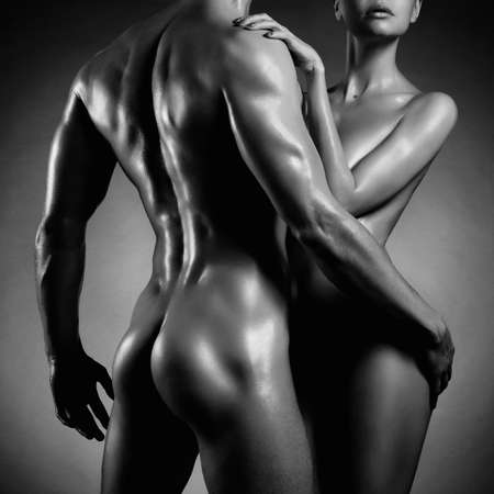 intimate sex: Art photo of nude sexy couple in the tender passion Stock Photo