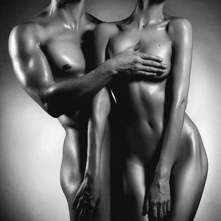 naked: Art foto van naakt sexy paar in de tedere passie Stockfoto