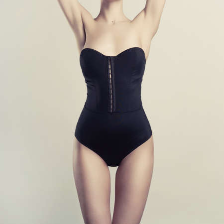 Photo of young slim woman in stylish lingerie photo