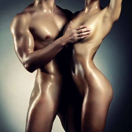 naked female body: Art photo of nude sexy couple in the tender passion Stock Photo