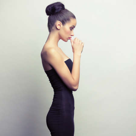 black girl nude: Portrait of young girl in black dress