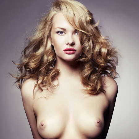 sexy woman nude: Fashion photo of beautiful nude woman with curly hair