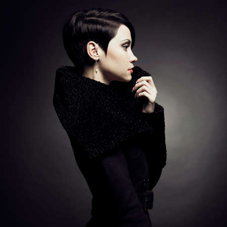 Portrait of a beautiful lady in an elegant coat 版權商用圖片 - 22475638
