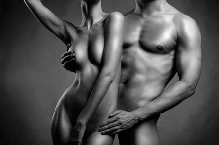 naked black woman: Art photo of nude sexy couple in the tender passion Stock Photo