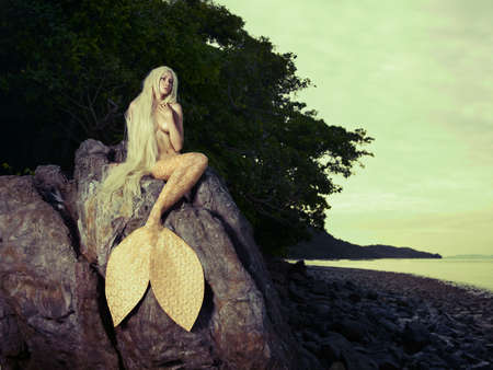 Beautiful fashionable mermaid sitting on a rock by the sea Banco de Imagens