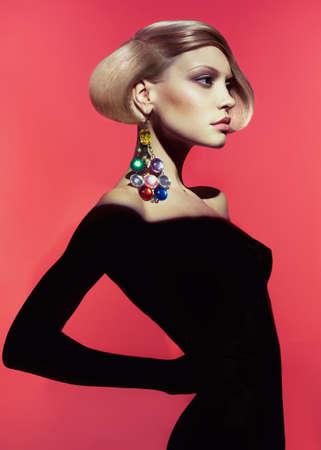 Fashion art photo of beautiful lady with stylish hairdo Banco de Imagens