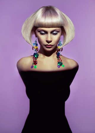 Fashion art photo of beautiful lady with stylish hairdo Reklamní fotografie
