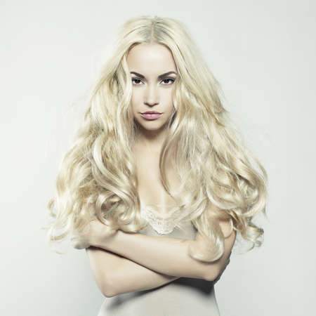 Fashion portrait of young beautiful woman. Sexy blonde. Stock Photo