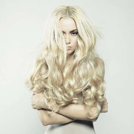 Fashion portrait of young beautiful woman. Sexy blonde Foto de archivo
