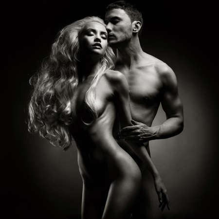 Art photo of nude sexy couple in the tender passion Stock Photo - 26837120