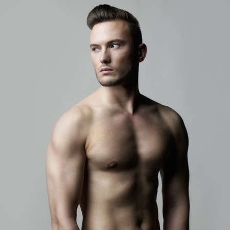 naked male: Fashion photo of naked male with strong body