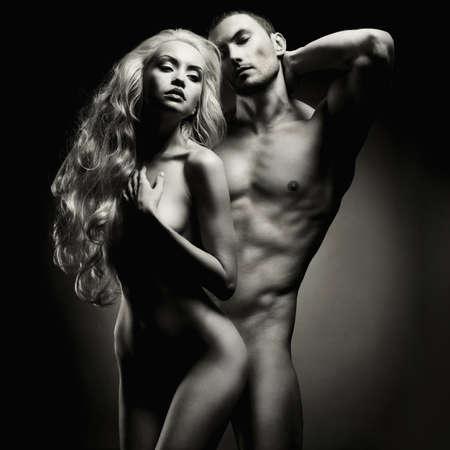 sexo: Art foto de una pareja sexy desnuda en la tierna pasión