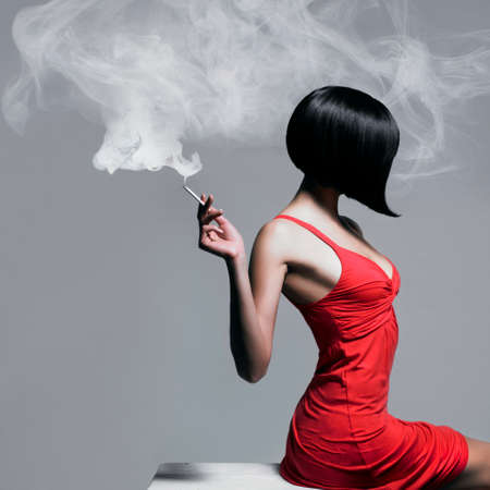 girl short hair: Fine art portrait of a beautiful lady with cigarette