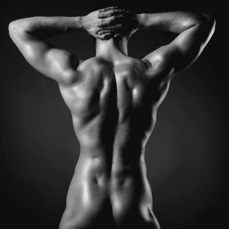 nudo maschile: Foto di atleta nudo con corpo forte Archivio Fotografico
