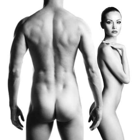 nude female buttocks: Art photo of nude sexy couple in the tender passion Stock Photo