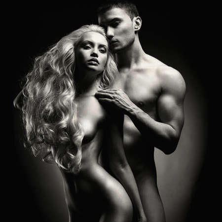 Art photo of nude sexy couple in the tender passion Stock Photo