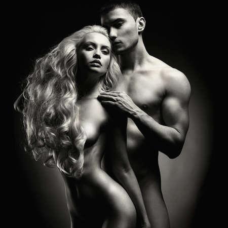 erotico: Photo Art di nudo coppia sexy in tenera passione