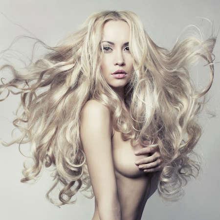 nude female body model: Erotic portrait of nude beautiful woman. Sexy blonde. Stock Photo