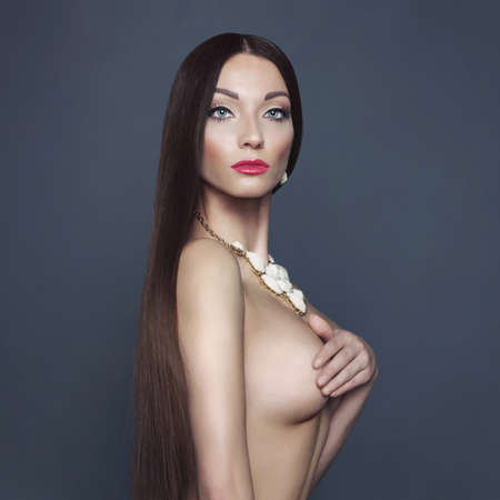 naked woman: Fashion photo of beautiful naked lady with necklace