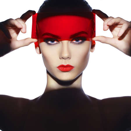 futuristic eye: Fashion art studio photo of beautiful elegant futuristic lady