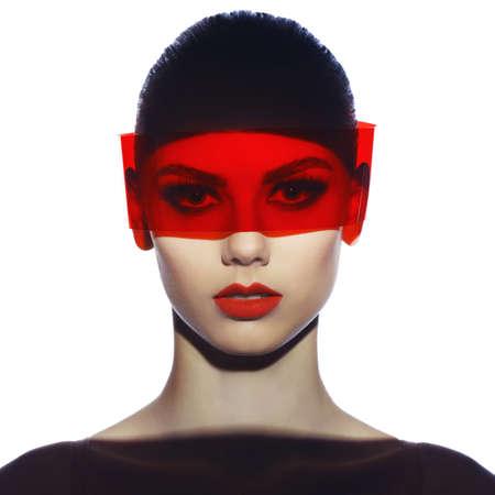 아름다운 우아한 미래의 여성의 패션 예술 스튜디오 사진 스톡 콘텐츠