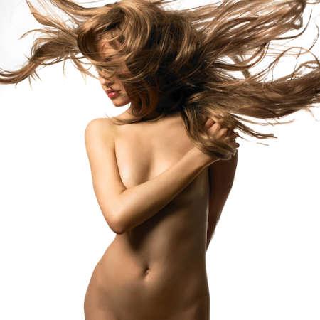 nude blonde: Erotic portrait of nude beautiful woman. Sexy blonde. Stock Photo
