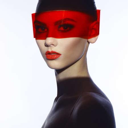 Fashion art studio photo of beautiful elegant futuristic lady