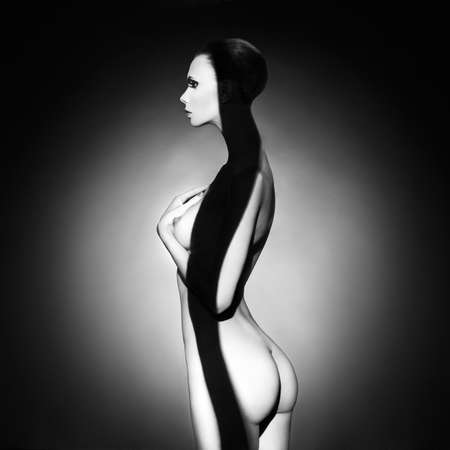 young woman nude: Fashion art studio photo of elegant naked lady Stock Photo