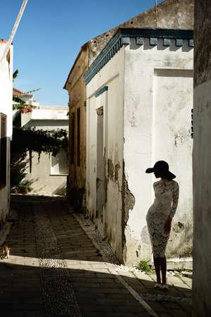 fashion art: Outdoor fashion art photo elegant lady in an old European town Stock Photo