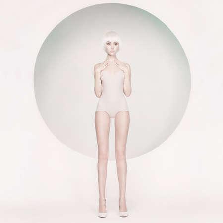Fashion art studio photo of elegant sensual woman on geometric background Stock Photo