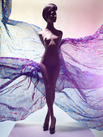 Artistic fashion studio photo of nude elegant woman surrounded by flowing draperies. Perfect body. Beauty and health Lizenzfreie Bilder