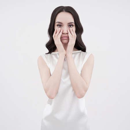fashion: Studio art fashion photo of natural beautiful yong woman on white background. Health and beauty