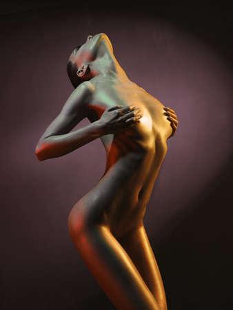 Mode Kunst Foto von eleganten Aktmodell in den hellen Strahlern