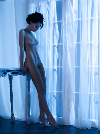 Art boudoir Mode Foto von nackt elegante Frau am Fenster im Mondschein. Perfekter Körper. Schönheit und Gesundheit