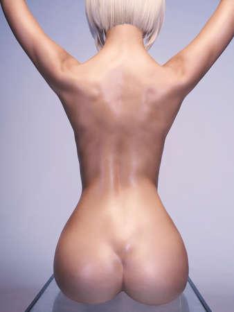 Studio art photo of elegant nude woman sitting on glass cube on white background. Perfect body. Beauty and cosmetology Standard-Bild
