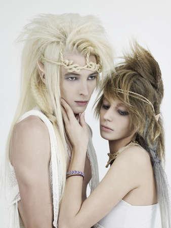 Photo stylish young elf couple on a white background. 版權商用圖片