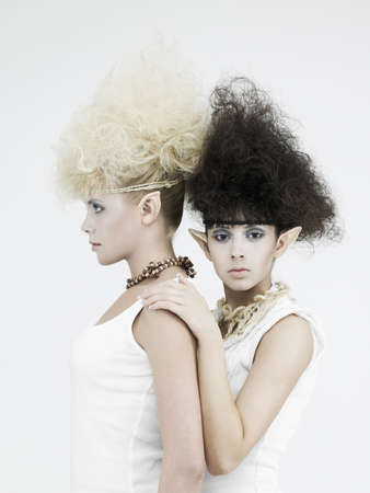 Stylish picture of two beautiful young girl elf