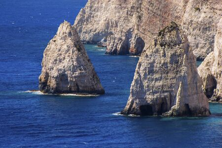 The view of two small Zakynthos cliffs, Creece Stock Photo