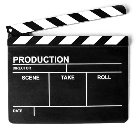 The Clapper board on white background