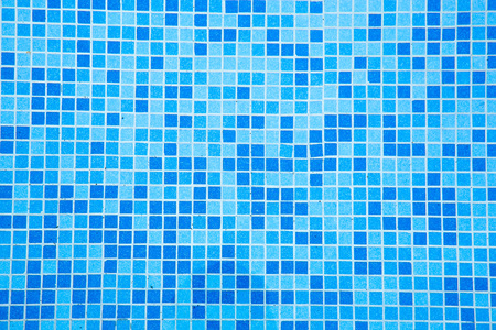 tile pattern: Mosaic of the swimming pool in shades of blue.