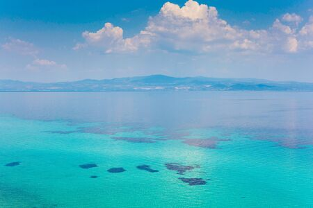 Beautiful view of the clear waters of the Mediterranean Sea, Greece