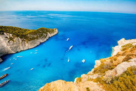 Navagio beach. Shipwreck bay, Zakynthos island, Greece. View from above. Stock Photo